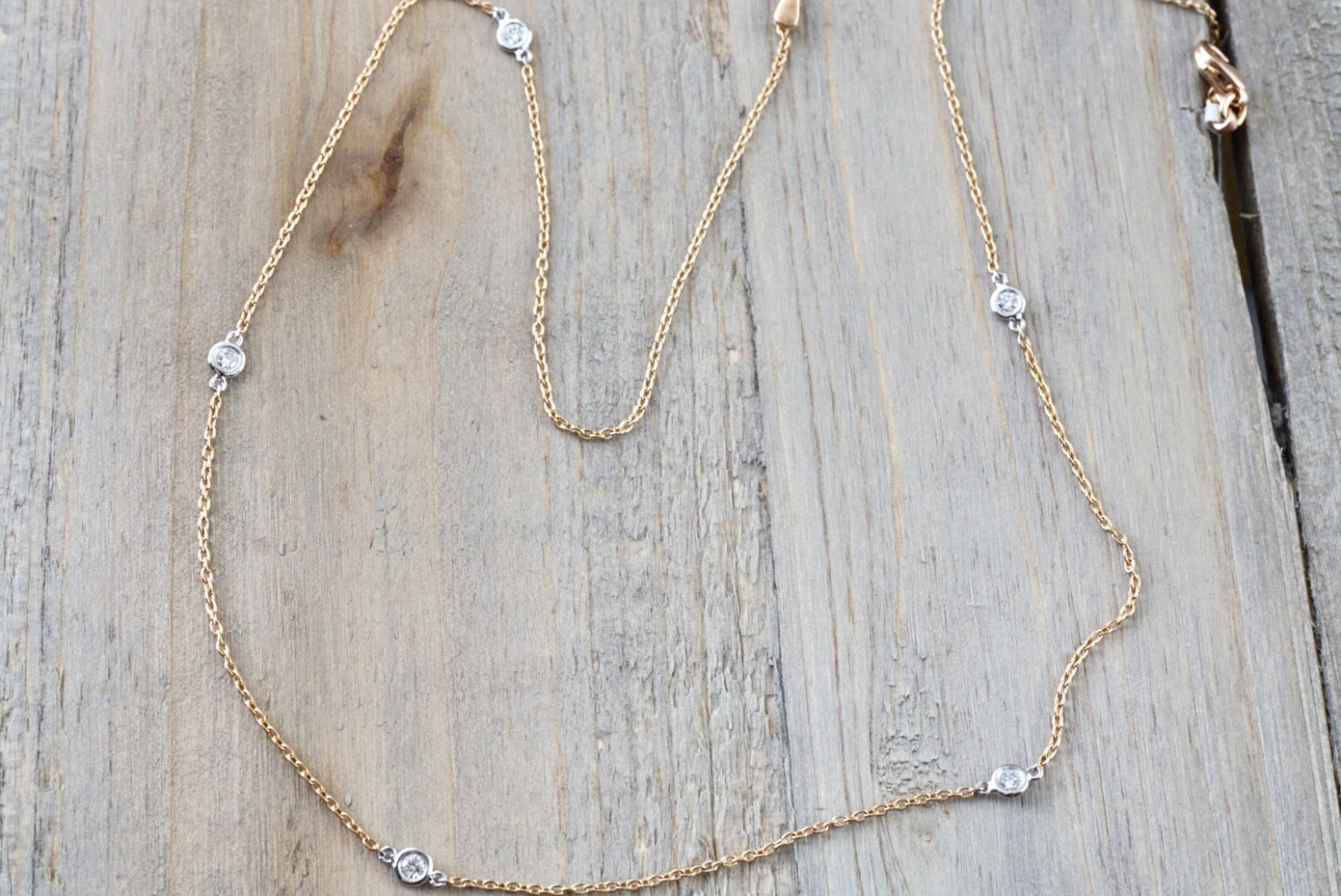 18k Rose And White Gold 5 Diamond Necklace Chain Dainty