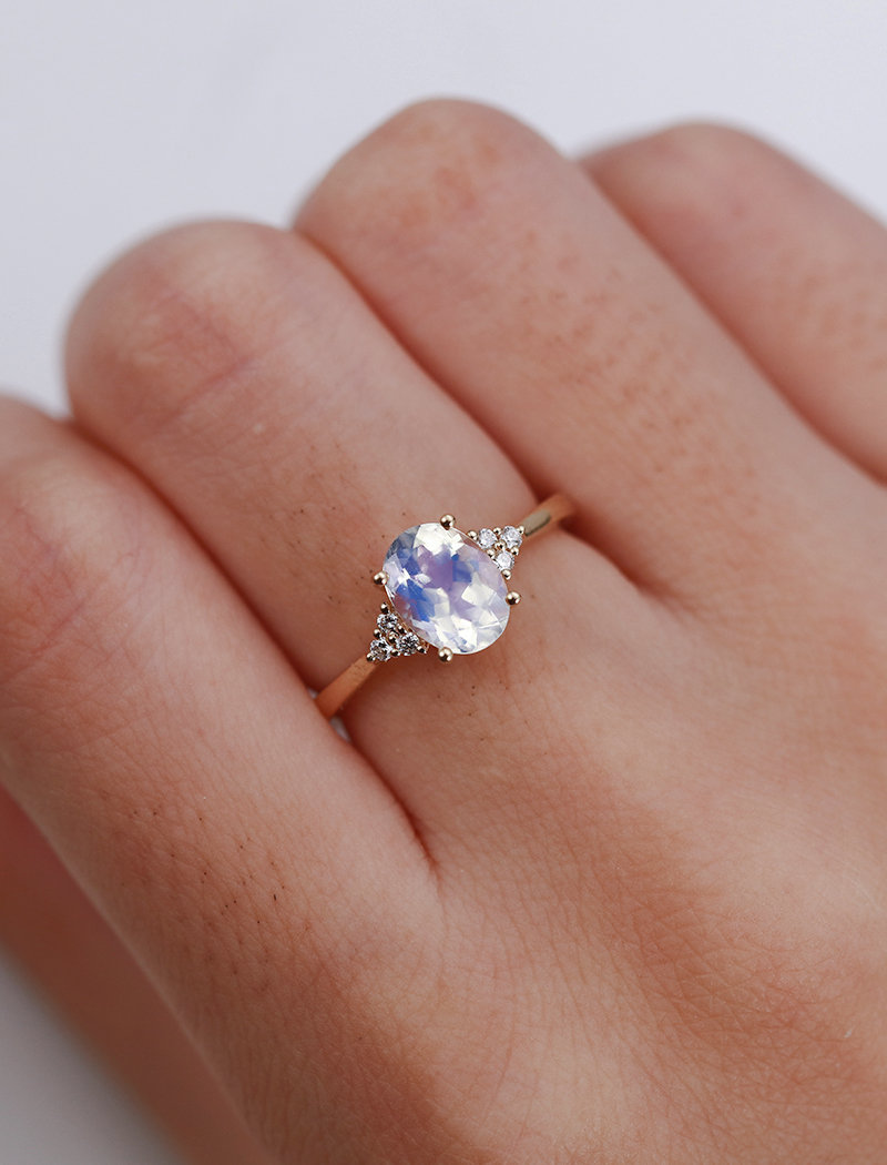 Moonstone engagement ring yellow gold Diamond cluster ring ...