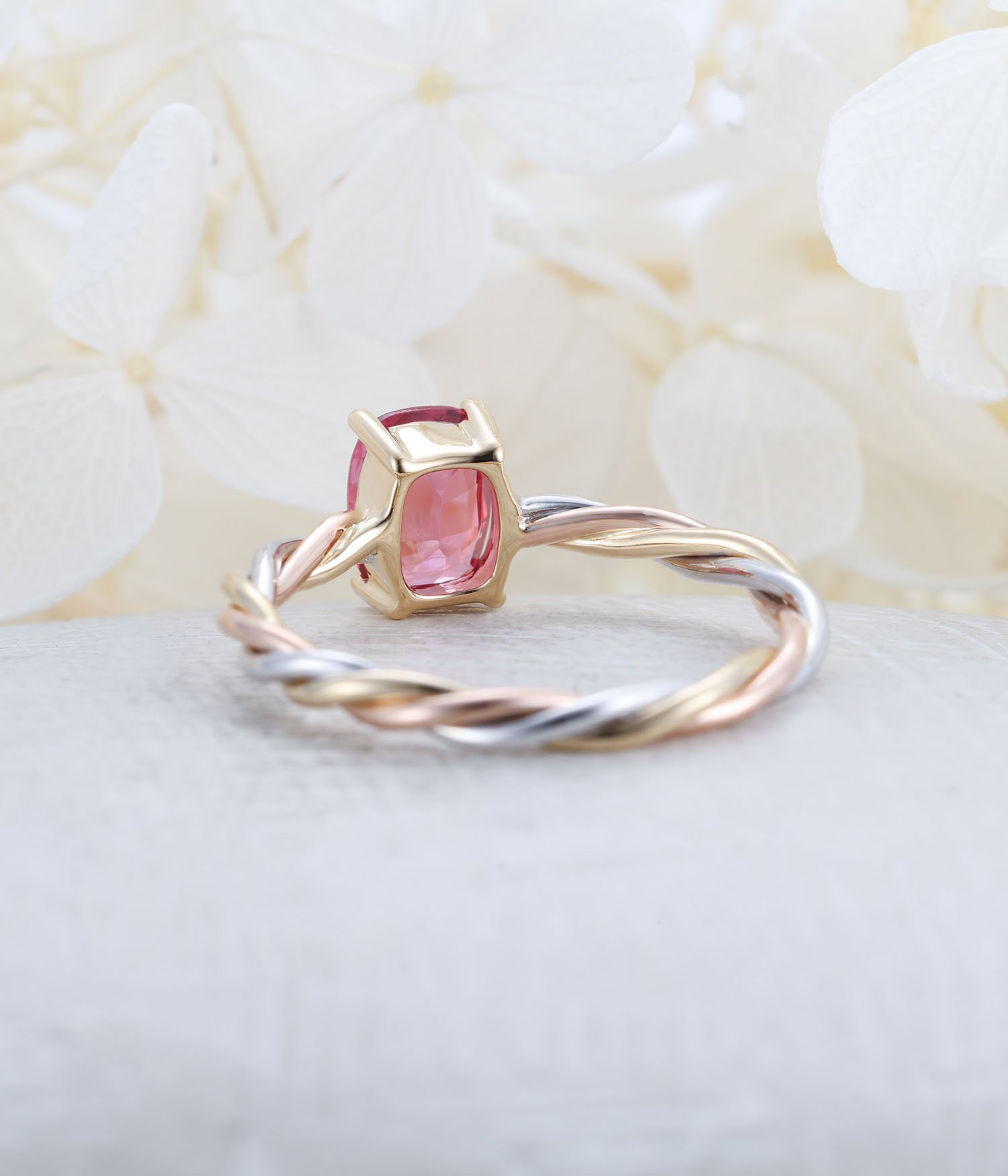 Vintage Engagement Ring Rose Gold Pink Sapphire Engagement