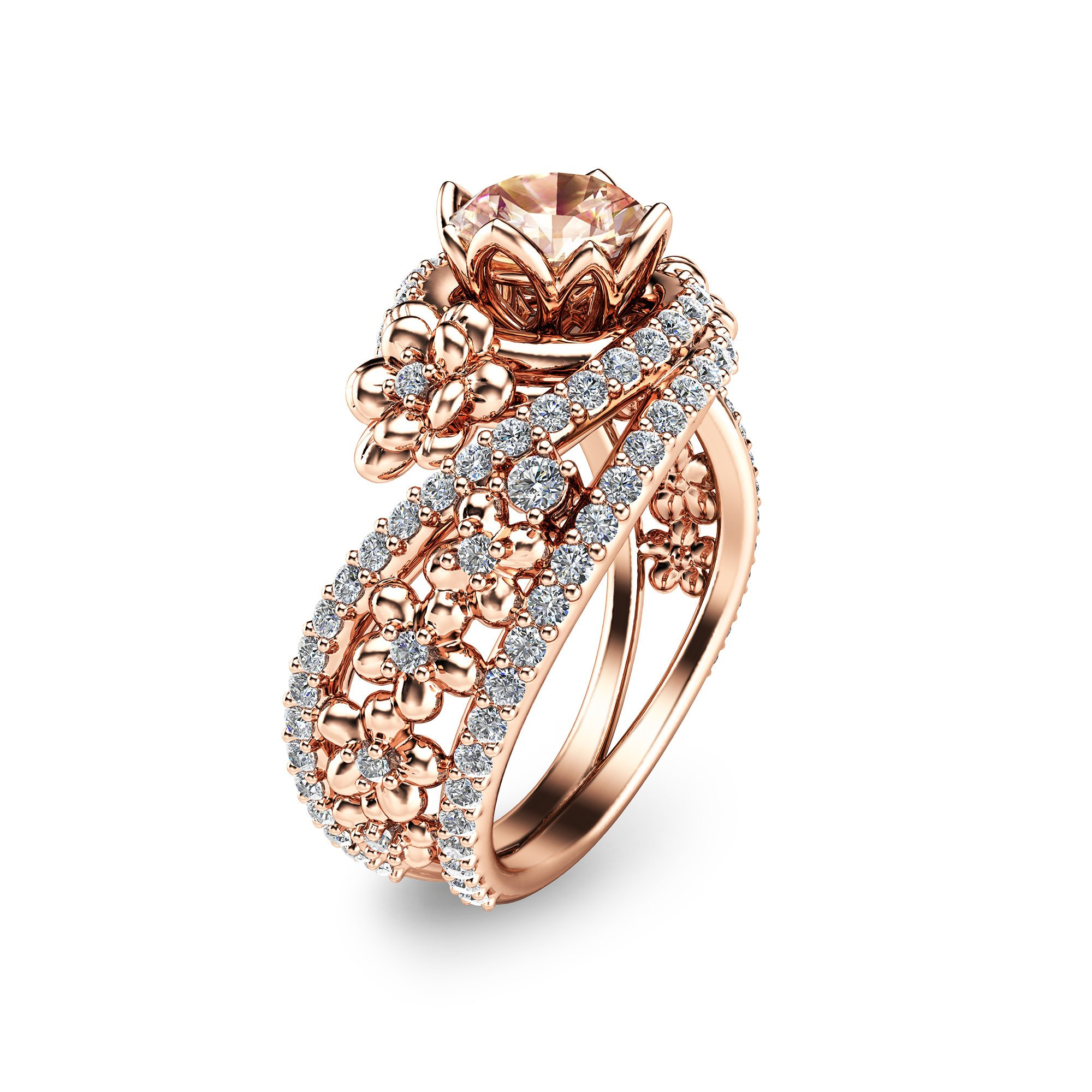 14K Rose Gold Morganite Engagement Ring Unique Morganite ...