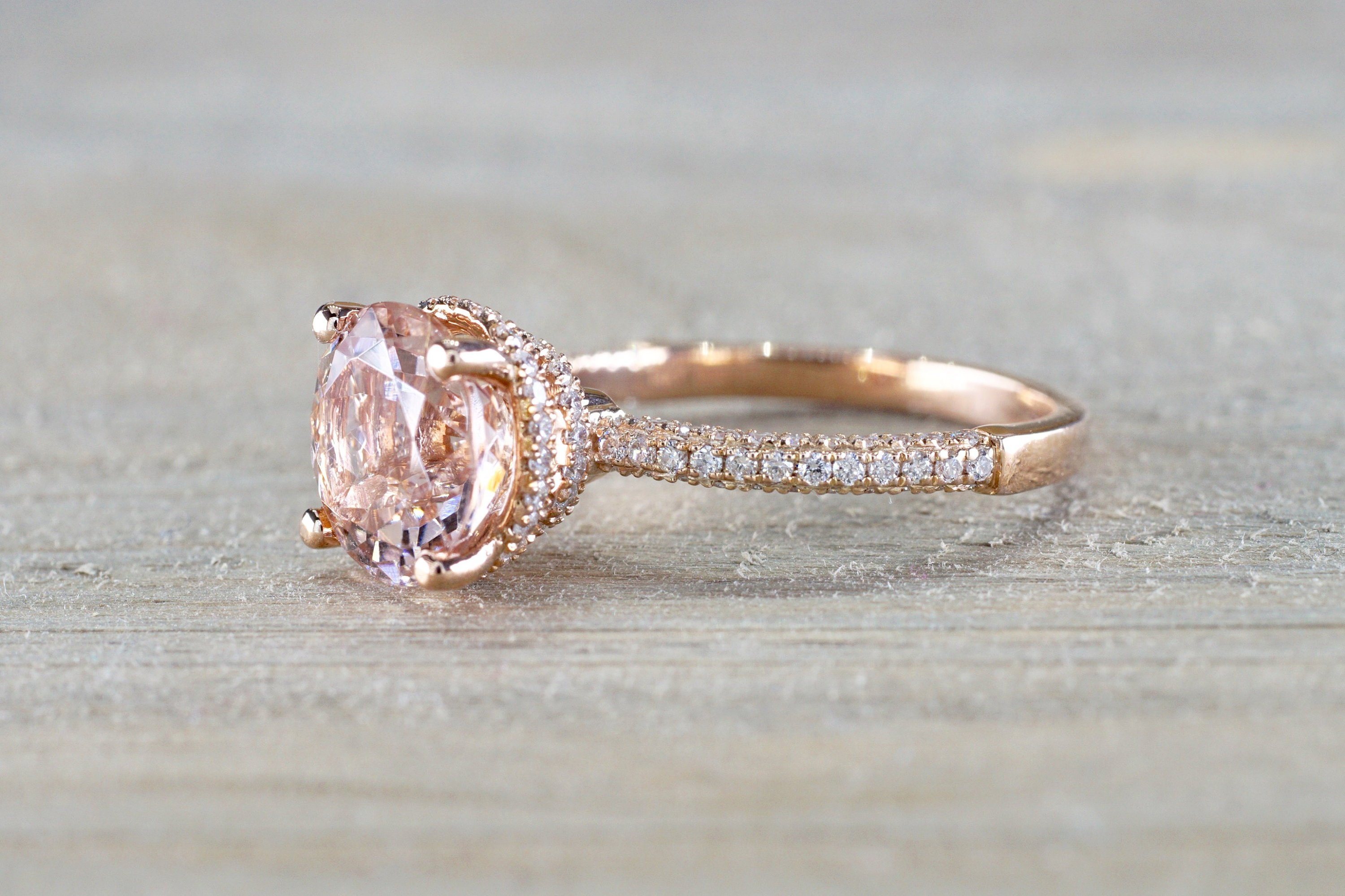 9mm 14k Rose Gold Double Under Halo Round Morganite With